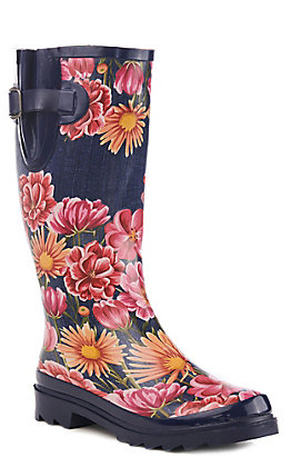 M&F Women's Navy and Coral Floral Round Toe Rain Boots