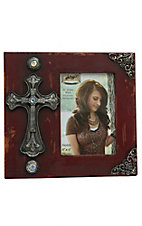 M&F Red with Silver Cross 4x6 Photo Frame
