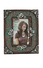 M&F Antique Turquoise Roses 4x6 Picture Frame