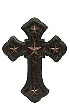 M&F Iron Stars & Amber Mosaic Glass Inlay Cast Iron Wall Cross