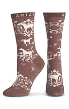 Ariat Women's Brown with Horses Socks