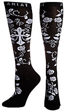 Ariat Women's Black & White Cross with Roses Knee High Socks