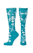 Ariat Women's Tile Blue & White Rose Cross Knee High Socks