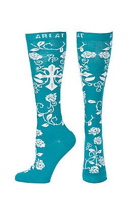 Ariat Women's Tile Blue & White Rose Cross Knee High Socks