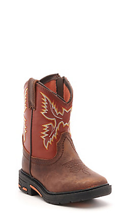 Ariat Toddler Lil Stompers WorkHog Brown and Rust Orange Square Toe Work Boots