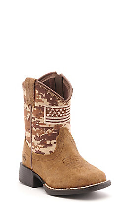 Ariat Toddler Brown and Camo Patriot Square Toe Western Boots