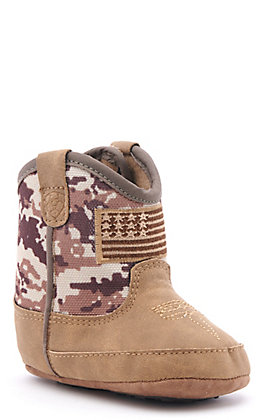 Ariat Infant Brown Camo Patriot Round Toe Western Boots