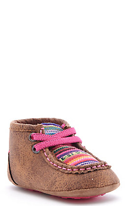 Ariat Infant Lil Stompers Brown and Pink Serape Print Moc Toe Shoes