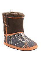 DBL by M&F Boy's Mossy Oak Camo & Orange Boot Slippers