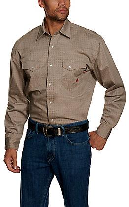 Forge Workwear FR Men's Tan Geo Print Long Sleeve Work Shirt