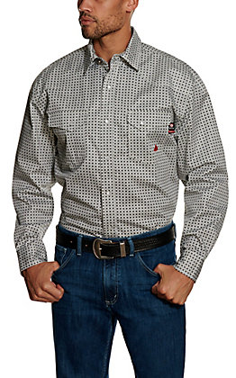 Forge Workwear FR Men's Black Geo Print Long Sleeve Work Shirt