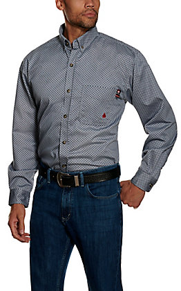 Forge Workwear FR Men's Blue Geoprint Long Sleeve Work Shirt