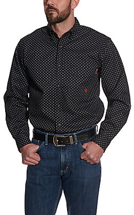 Forge Men's Black with Grey Geo Print Long Sleeve FR Work Shirt
