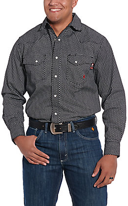 Forge Workwear Men's Black with White Print Long Sleeve FR Work Shirt