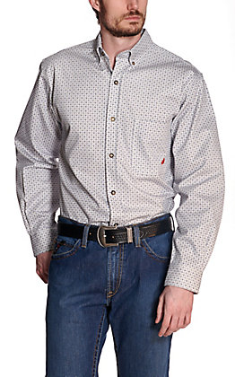 Forge Workwear Men's White, Blue & Grey Geo Print Long Sleeve FR Work Shirt