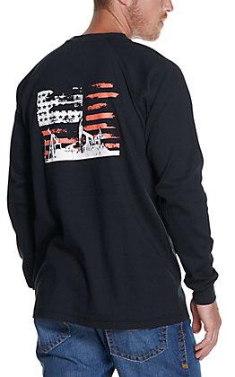 Forge Men's Black American Flag Oil Field Long Sleeve FR T-Shirt