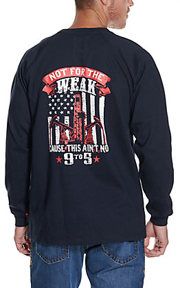 Forge Men's Navy Not For the Weak American Flag Long Sleeve FR T-Shirt