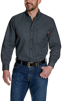 Forge Workwear Men's Black with Grey Geo Print Long Sleeve FR Work Shirt
