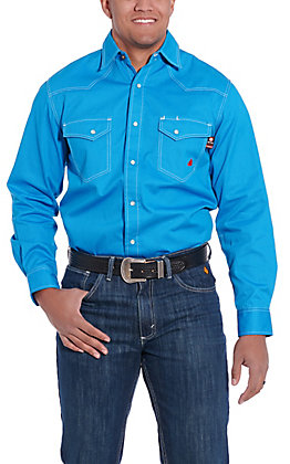 Forge Workwear Men's Blue with a Small Light Blue Dot Print Long Sleeve FR Work Shirt