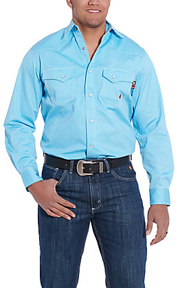 Forge Workwear Men's Blue with Small White Stripes Long Sleeve FR Work Shirt