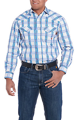 Forge Workwear Men's Blue, White, Grey Plaid Long Sleeve FR Work Shirt