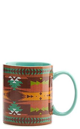 HiEnd Accents Pueblo Turquoise Aztec Mug