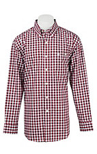 Wrangler Men's L/S Red and White Classic Plaid Western Shirt