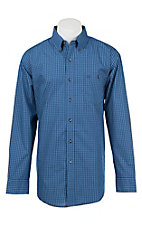 Wrangler Men's L/S Classic Grid Navy and Teal Plaid Western Shirt