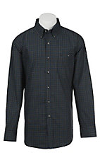 Wrangler Men's Black, Blue, and Teal Classic Check L/S Western Shirt