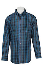 Wrangler Men's Black, Blue, and Green Plaid L/S Western Shirt