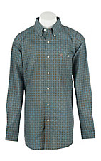 Wrangler Men's L/S Turquoise and Brown Medallion Print Western Shirt