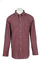 Wrangler Men's L/S Burgundy and Blue Plaid Western Shirt