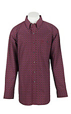 Wrangler Men's L/S Burgundy and Blue Medallion Print Western Shirt
