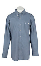 Wrangler Men's L/S Blue and White Mini Print Western Shirt