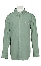 Wrangler Men's Green and White Classic Checkered Print L/S Western Shirt