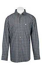 Wrangler Men's Brown, White and Blue Classic Plaid L/S Western Shirt