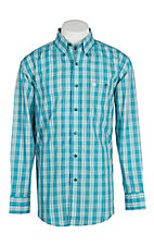 Wrangler Men's Turquoise Plaid Easy Care L/S Western Shirt