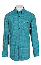 Wrangler Men's Turquoise Mini Diamond Print Easy Care L/S Western Shirt