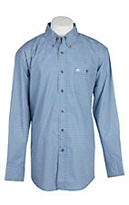Wrangler Men's Royal Blue Mini Diamond Print Easy Care L/S Western Shirt