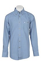 Wrangler Men's Classic Royal Blue Mini Checkered Western Shirt