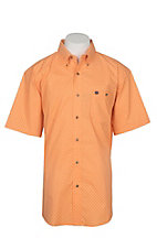 Wrangler Men's Classic Orange Mini Geo Print S/S Western Shirt
