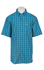 Wrangler Men's Blue Plaid S/S Western Shirt