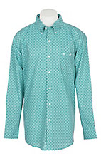 Wrangler Men's Classic Green Geo Print Easy Care Western Snap Shirt