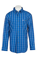 Wrangler Men's Classic Blue Plaid Easy Care Western Snap Shirt