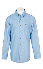 Wrangler Men's Classic Blue Medallion Print Easy Care Western Snap Shirt