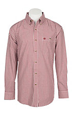 Wrangler Men's Classic Burgundy Plaid Easy Care Western Snap Shirt