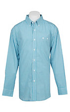 Wrangler Men's Turquoise Plaid Long Sleeve Western Shirt
