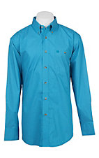 Wrangler Men's Blue Medallion Print Long Sleeve Western Shirt