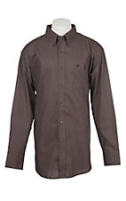 Wrangler Men's Black and Red Geo Print Long Sleeve Western Shirt