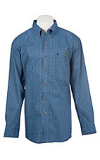 Wrangler Men's Navy and Purple Medallion Print Long Sleeve Western Shirt